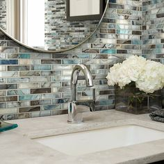 Neptune 1 x 4 Glass Mosaic Tile in Glossy Silver/Brown Mosaic Wall Tiles, Mosaic Glass, Small Bathroom, Master Bathroom, Bathroom Ideas, Glass Tile Bathroom, Glass Tile Backsplash, Glass Tiles, Glass Kitchen
