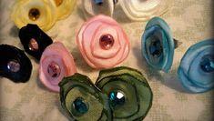 Brincos de flores de tecido chapadinhos - Como Criar Bijuterias – Montagem de Bijuterias: Como Fazer e Vender, Passo-a-Passo, Idéias e Muito mais.