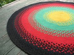 Braided Rug made from Recycled T Shirts Rasta by BraidedGloryRugs, $190.00
