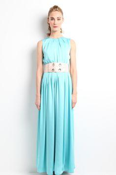 "Vestido largo azul con cinturón salmón y lúrex metalizado. Modelo Aure - ""Moments"" P/V 2014 Apparentia Collection."