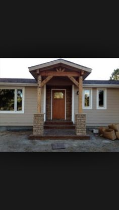 Front Porch With Rafters Abd Stone Detail! Love Love Love This Adorable  Porch! Mobile Home ...