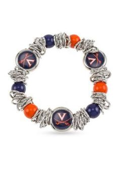 Accessory Plays Women Silver-Tone University Of Virginia Cavaliers Beaded Stretch Bracelet