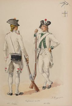 Régiments d'infanterie 43e and 86e (Limosin et Foix), 1786.   Watercolour by Lucien Rousselot