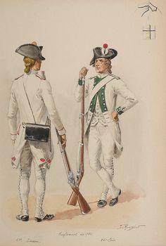 Régiments d'infanterie 43e, 86e (Limosin et Foix) 1786 Watercolor by Lucien Rousselot