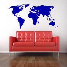 Large World Map- Vinyl Wall Decal by MyaAddisyn on Etsy https://www.etsy.com/listing/157638028/large-world-map-vinyl-wall-decal