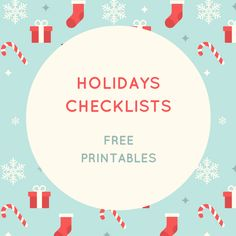 Holidays checklists - free printables