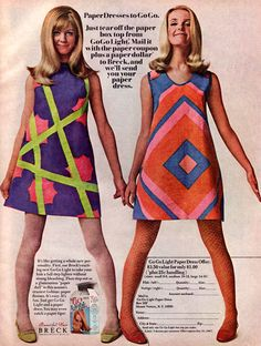 Mail in offer from Breck Shampoo to get a paper dress -- 1967