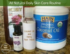 All Natural Daily Skin Care Routine - Coconut Oil & Honey Face Wash, ACV Toner, & more! #DIY #Beauty