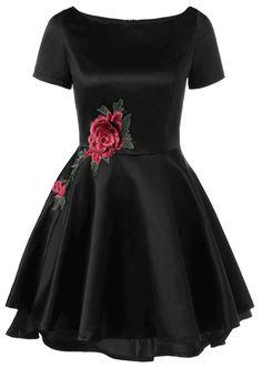 $17.54 Applique Embellished Fit and Flare Dress - Black