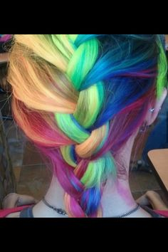 Rainbow hair braid