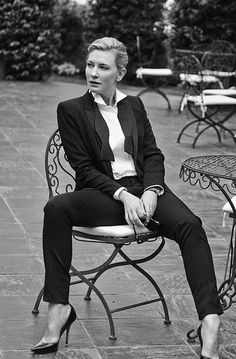 "forgetfoolkid: "" ""Women in Suits Appreciation Post (Black & White) ↳ Cate Blanchett ""It's hard to describe my own style. I think it's probably quite eclectic. Even in high school, I wore men's suits. I was always in men's jackets, men's pants, which..."