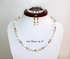 Pastel  Mallorca pearls set Elegant jewelry set pearl
