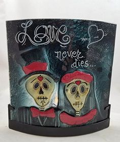 Day Of The Dead Skull Bride Groom Glass CANDLE HOLDER Love Never Dies Halloween >>> Read more at the image link.