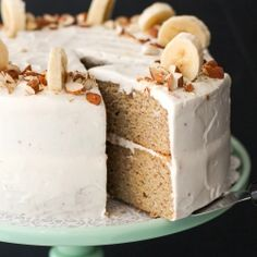 Gluten-Free Banana Cake with Cream Cheese Frosting! Made secretly healthy. Fo realz y'all.