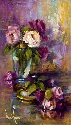 """I am not really quite sure where to pin this, but since it is a painting, I suppose it might go in the home. Oil painting """"A Jar Of Roses"""" 20 x 12 inches by Artist NORA KASTEN Arte Floral, Artist Painting, Painting & Drawing, Oil Painting Flowers, Painting Wallpaper, Watercolor Artists, Painting Videos, Painting Lessons, Painting Tutorials"""