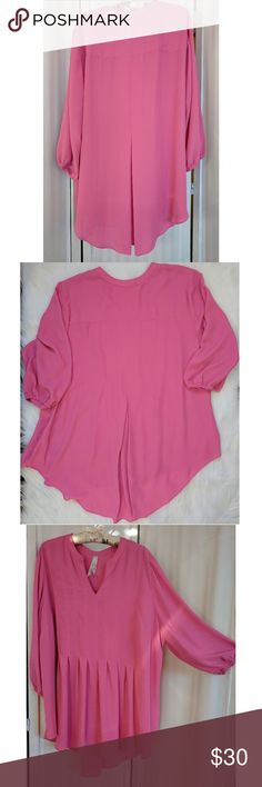 Melissa McCarthy Seven7 pink top Melissa McCarthy Seven7 pink top. 100% polyester. Measurements in photos. To ensure satisfaction and fit, zoom in and view carefully. In excellent pre-owned condition. Melissa McCarthy Seven7 Tops Tunics