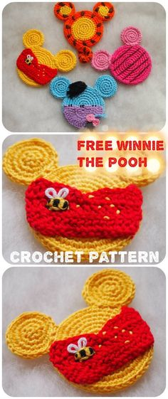 Winnie the Pooh Mouse crochet pattern. Crochet Crafts, Crochet Toys, Crochet Projects, Knit Crochet, Crocheted Animals, Crochet Birds, Knitted Dolls, Crochet Ideas, Disney Crochet Patterns