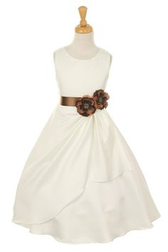 Girls Long Ivory Dresses with Brown Flower and Sash