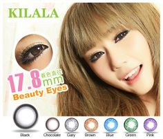Kilala Popcorn 17.8mm Fashion Contact Lenses, Colored Popcorn, Blue Green, Chocolate, Brown, Pink, Beauty, Duck Egg Blue, Chocolates