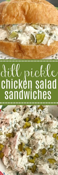 Dill Pickle Chicken Salad Sandwiches | Chicken Salad Recipe | Dill pickle chicken salad is a fun twist to original chicken salad. Chunks of chicken, dill pickles, and green onions get smothered in an ultra creamy sauce that has dill pickle juice in it! Serve on rolls, croissants, or inside lettuce for a low carb option. Chicken salad sandwiches are great for picnics, parties, potlucks, or even lunch and dinner.