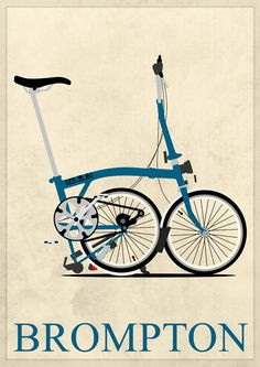 Art Print of a partially folded Brompton bicycle.