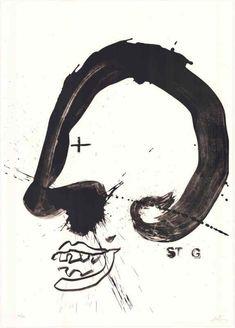 © Antoni Tàpies, Improvisations en blanc et noir V, 105 x 75 cm (1987).