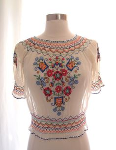 1930's peasant blouse / 20s 30s hand-embroidered Hungarian smocked puff sleeve top ... sz S ...28 waist on Etsy, $167.59 CAD