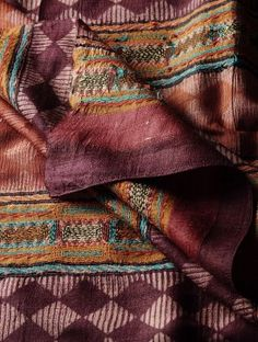 Carmine Red Tussar Silk Kantha Embroidered Block Printed Dupatta