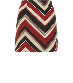 Black Chevron Print A-Line Skirt - Size 10