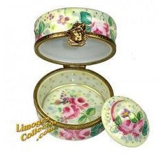 Hat Box Rose Design with Hat Limoges Box (Beauchamp)