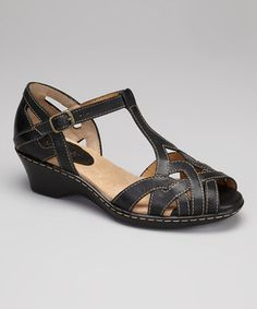Look what I found on #zulily! Softspots Black Hikari T-Strap Sandal by Softspots #zulilyfinds