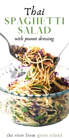 This yummy Spicy Thai Spaghetti Salad With Peanut Dressing is a delicious twist on a potluck classic. Quick to prepare using common ingredients, the Asian flavors in this colorful pasta salad really pop. Asian Recipes, Healthy Recipes, Thai Recipes, Beef Recipes, Recipies, Spaghetti Salad, Summer Spaghetti, Spaghetti Squash, Spicy Thai