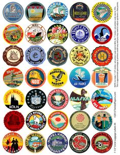 LUGGAGE LABELS, 1.5 inch Circles (Can adjust to be 1 or 1.25 inch.) Vintage Worldwide - American Travel Stickers, Digital Collage Sheet 004.