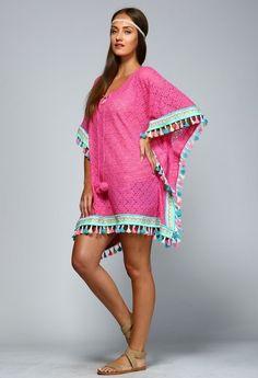 La Playa Boho Tassel Trim PINK Pom Pom Kaftan Tunic Lace Knit - Cover Up S-2X #Velzara #KaftanCaftanTunicPoncho #SummerBeach