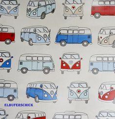 Stoff retro - BAUMWOLLE Campervan Bulli blau- rot DEKOSTOFF - ein Designerstück von Elbuferschick bei DaWanda