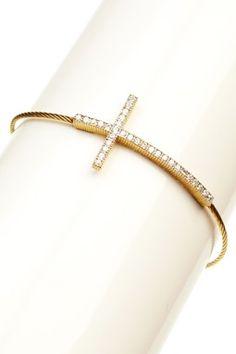 Pave Swarovski Crystal Cross Bracelet