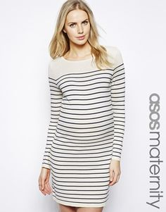 Image 1 - ASOS Maternité - Robe pull à rayures marines