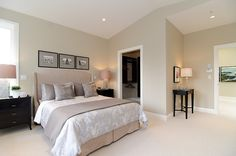 Pink beige carpet and headboard/skirt. Green beige walls, taupe accent pillows and coverlet and blue gray duvet.