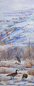 TWO GEESE AND A GREAT BLUE HERON by Nancee Jean Busse in the FASO Daily Art Show