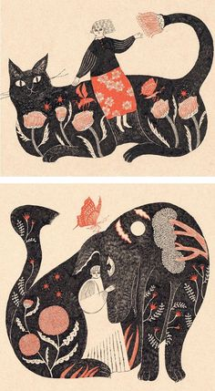 Animal illustrations by Sanae Sugimoto #surrealillustration
