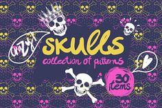 Crazy skulls (seamless patterns). by Tanya Akhmett on Creative Market