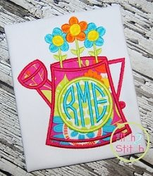 Watering Can Monogram Applique - 3 Sizes! | What's New | Machine Embroidery Designs | SWAKembroidery.com The Itch 2 Stitch