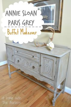 Annie Sloan Chalk Paint Paris Grey Buffet Table Makeover also like the rustic decoration Grey Furniture, Chalk Paint Furniture, Furniture Projects, Furniture Design, Rooms Furniture, Furniture Stores, Refurbished Furniture, Furniture Makeover, Dresser Makeovers