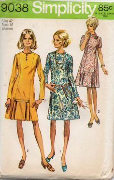 Simplicity 9038 1970s Womens Slimming Princess Seam Dress Pattern plus size vintage sewing pattern by mbchills
