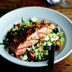 Grilled Salmon with Orzo, Feta, and Red Wine Vinaigrette: amazing and really easy! A lot of salad leftover, get more fish; roasted salmon with diced garlic and shallots; Grilled Fish Recipes, Salmon Recipes, Grilling Recipes, Seafood Recipes, Dinner Recipes, Cooking Recipes, Healthy Recipes, Tilapia Recipes, Epicurious Recipes