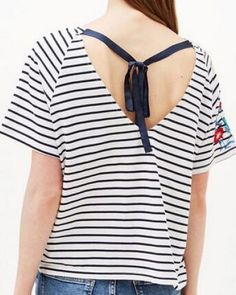 Black and white striped t shirt with embroidery flower tie back top for women