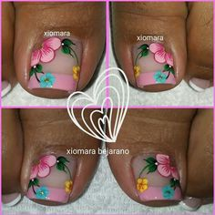 this toe nail art idea! Summer Nails 2018, Summer Toe Nails, Spring Nails, Pretty Toe Nails, Cute Toe Nails, Love Nails, Pedicure Nail Art, Pedicure Designs, Toe Nail Art
