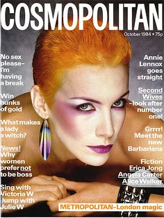Magazine photos featuring Annie Lennox on the cover. Annie Lennox magazine cover photos, back issues and newstand editions. Annie Lennox, 1980s Makeup, Clown Makeup, Francesco Scavullo, Angela Carter, Cosmo Girl, Nostalgia, Happy 40th Birthday, New Romantics
