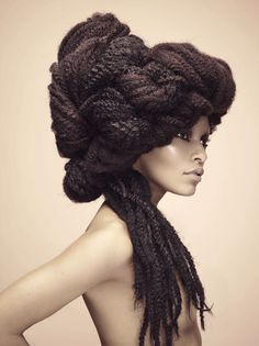 Shredded twine, corn row extensions and nylon rope were worked into the hair to update the classic updo, bob and afro.  Photography: Roberto Ligresti. Make-up: Roshar