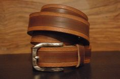 Brown Leather Belt  Engraved Size Belt Buckle by CUERO925LEATHER, €25.00